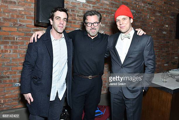 B J Novak Billy Reid and Jake Lacy attend Billy Reid Backstage NYFW Men's at The Cellar at The Beekman on January 30 2017 in New York City