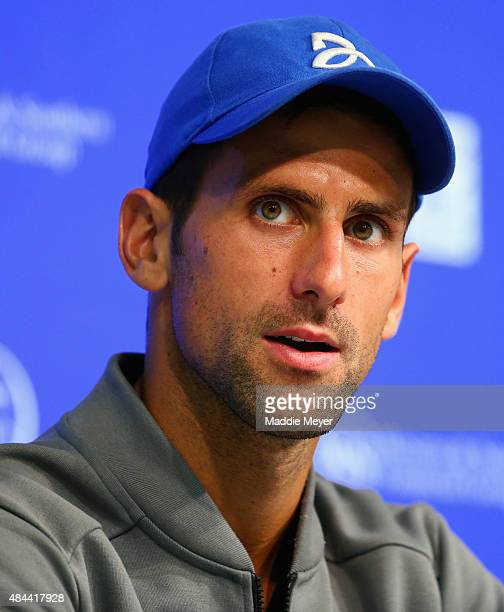 Novak Djokovic addresses the media in a press conference during Day 4 of the Western & Southern Open at the Lidler Family Tennis Center on August 18,...