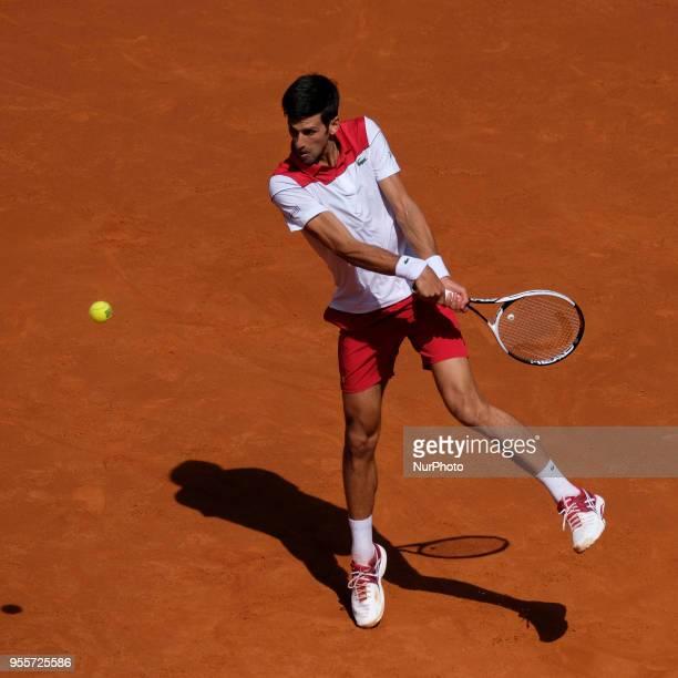 Novak Djokovic against Kei Nishikori during day three of the Mutua Madrid Open tennis tournament at the Caja Magica on May 7 2018 in Madrid Spain