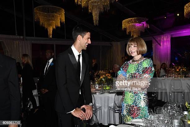 Novak Djokovic and Anna Wintour attend the Milano Gala Dinner benefitting the Novak Djokovic Foundation presented by Giorgio Armani at Castello...