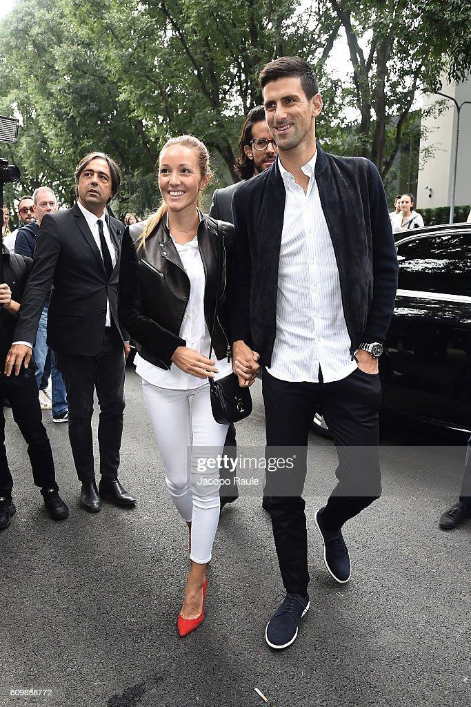 Novak Djokovic and Jelena Djokovic arrive at the Giorgio Armani show during Milan Fashion Week Spring/Summer 2017 on September 23, 2016 in Milan, Italy.