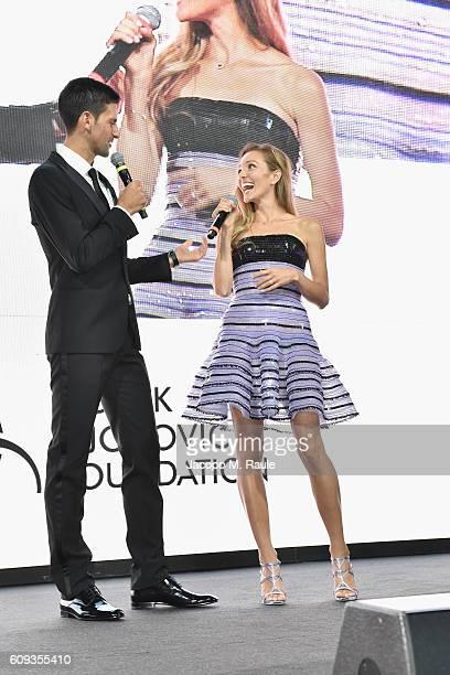 Novak Djokovic and Jelena Djokovic attend the Milano Gala Dinner benefitting the Novak Djokovic Foundation presented by Giorgio Armani at Castello...
