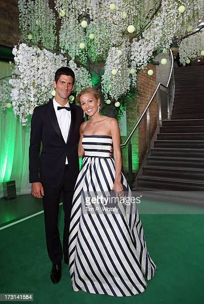 Novak Djokovic and Jelena Ristic attend the Novak Djokovic Foundation inaugural London gala dinner at The Roundhouse on July 8 2013 in London England...