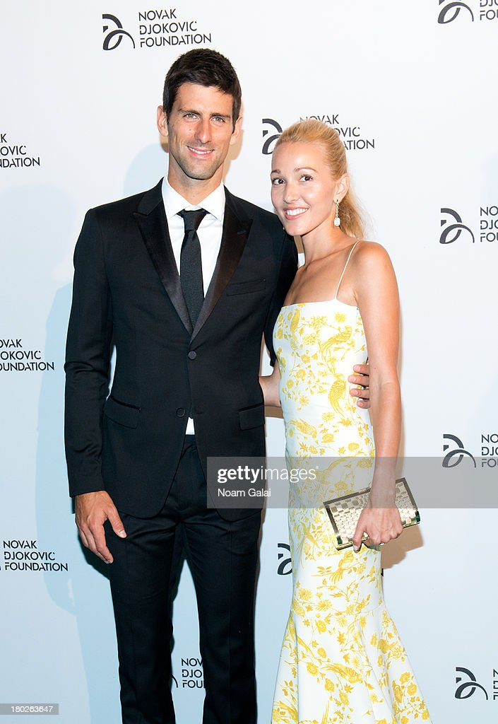 Novak Djokovic and Jelena Ristic attend the The 2013 Novak Djokovic Benefit Dinner at Capitale on September 10, 2013 in New York City.