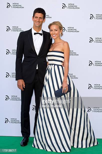 Novak Djokovic and Jelena Ristic attends the Novak Djokovic Foundation London gala dinner at The Roundhouse on July 8 2013 in London England