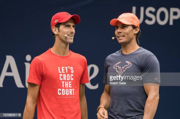 Novak Djokovic and Rafael Nadal attend the 2018 Arthur Ashe Kids' Day at USTA Billie Jean King National Tennis Center on August 25 2018 in New York...