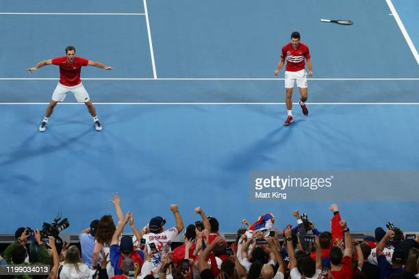 Novak Djokovic and Viktor Troicki of Serbia celebrates winning match point during their final doubles match against Feliciano Lopez and Pablo Carreno...