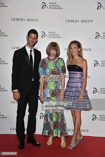 Novak Djokovic, Anna Wintour and Jelena Djokovic attend the Milano Gala Dinner benefitting the Novak Djokovic Foundation presented by Giorgio Armani...
