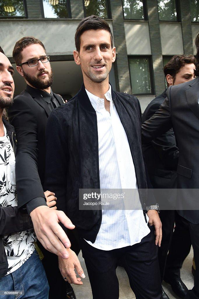 Novak Djokovic arrives at the Giorgio Armani show during Milan Fashion Week Spring/Summer 2017 on September 23, 2016 in Milan, Italy.