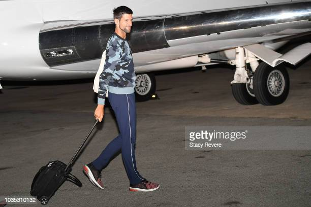 Novak Djokovic arrives for Laver Cup 2018 on September 17 2018 in Chicago Illinois
