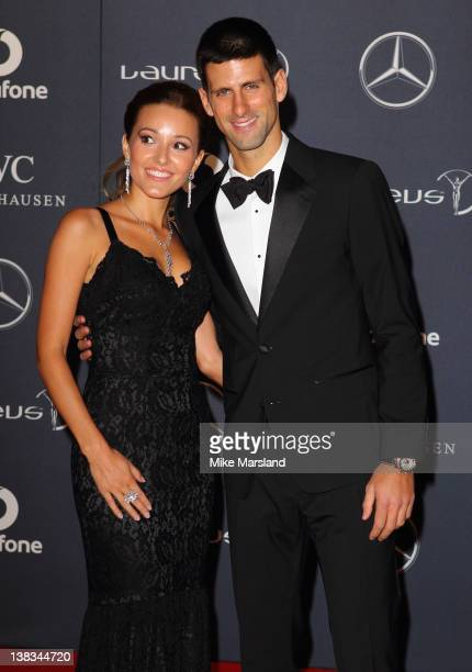 Novak Djokovic arrives with his girlfiend Jelena Ristic at the Laureus World Sports Awards at the Central Hall Westminster on February 6, 2012 in...