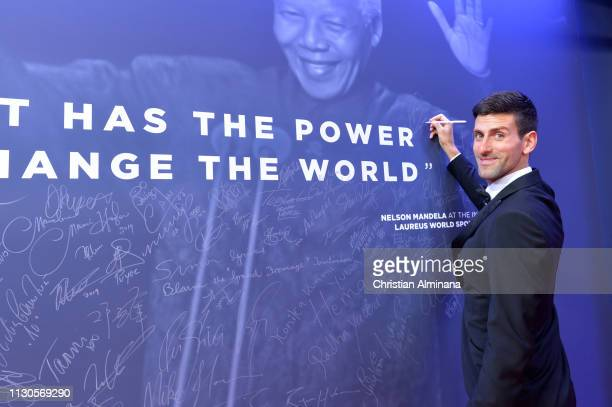 Novak Djokovic at the Nelson Mandela wall during the 2019 Laureus World Sports Awards on February 18 2019 in Monaco Monaco