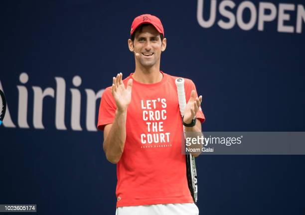 Novak Djokovic attends the 2018 Arthur Ashe Kids' Day at USTA Billie Jean King National Tennis Center on August 25, 2018 in New York City.