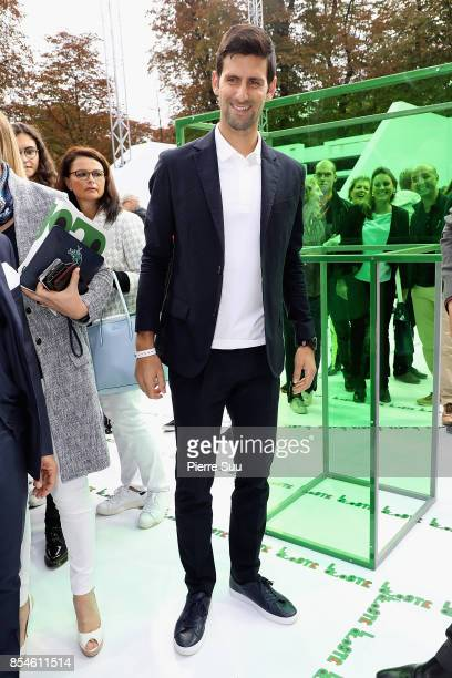 Novak Djokovic attends the Lacoste show as part of the Paris Fashion Week Womenswear Spring/Summer 2018 on September 27 2017 in Paris France