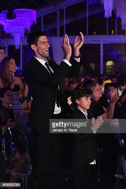 Novak Djokovic attends the Milano Gala Dinner benefitting the Novak Djokovic Foundation presented by Giorgio Armani at Castello Sforzesco on...