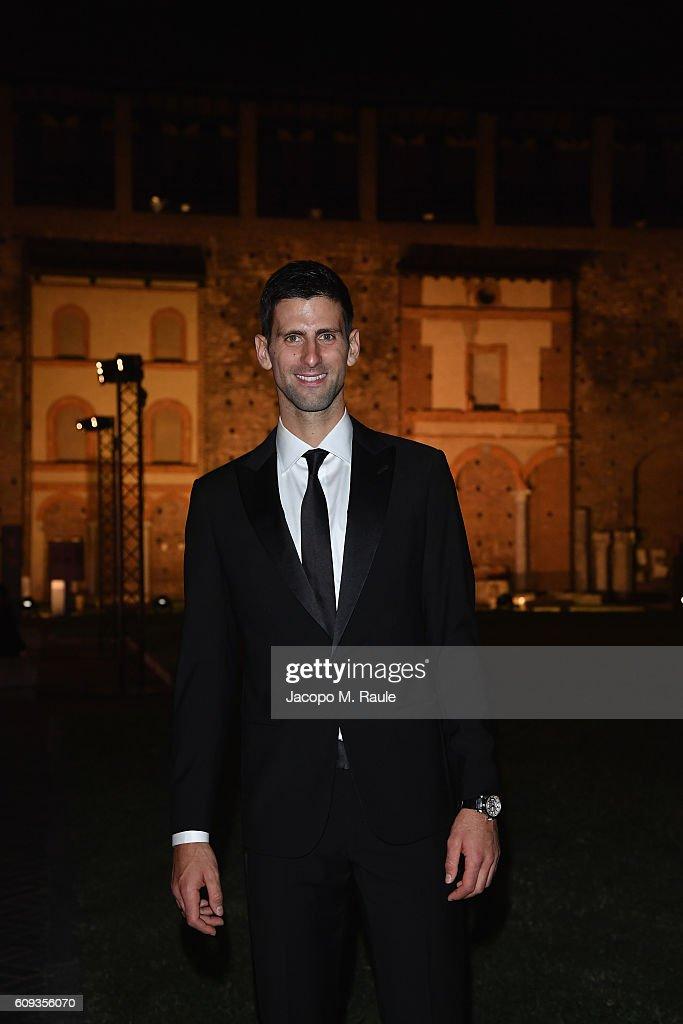 Novak Djokovic attends the Milano Gala Dinner benefitting the Novak Djokovic Foundation presented by Giorgio Armani at Castello Sforzesco on September 20, 2016 in Milan, Italy.
