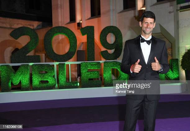 Novak Djokovic attends the Wimbledon Champions Dinner at The Guildhall on July 14 2019 in London England