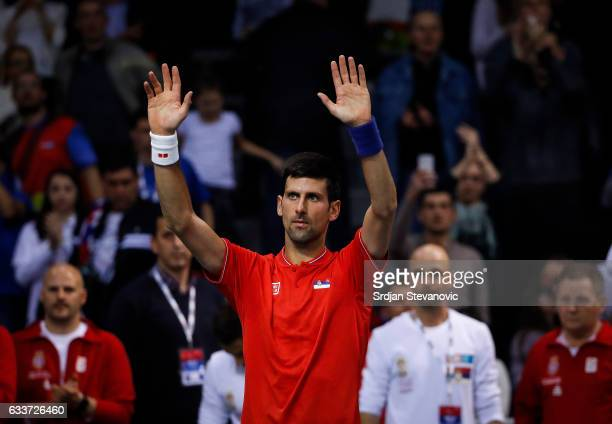 Novak Djokovic celebrates after winning against Daniil Medvedev of Russia after the Davis Cup World Group first round single match between Serbia and...
