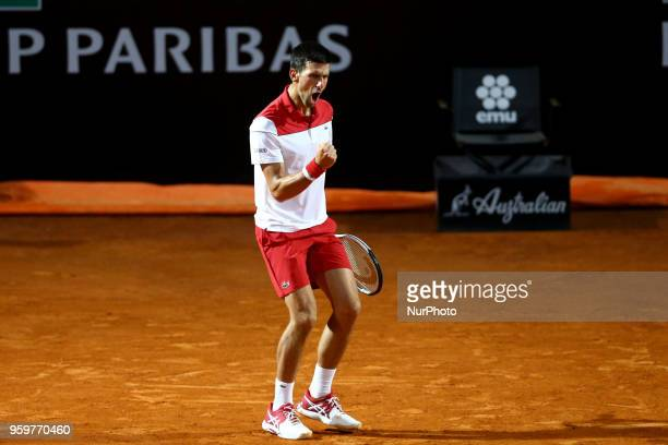 Novak Djokovic celebrates at Foro Italico in Rome Italy on May 17 2018