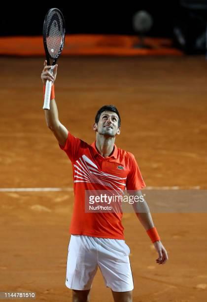 Novak Djokovic celebrates during the ATP Internazionali d'Italia BNL semifinal match at Foro Italico in Rome Italy on May 18 2019