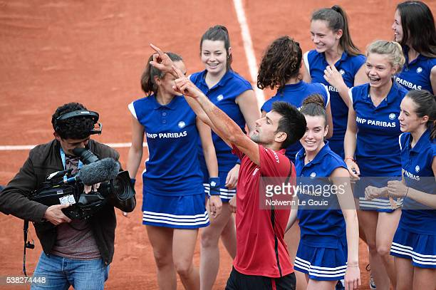 Novak Djokovic celebrates victory during the day fifteen of the French Open 2016 at Roland Garros on June 5 2016 in Paris France