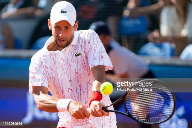 Novak Djokovic during his match against Alexander Zverev on June 14 during the 3rd day of Summer Adria Tour 2020 in Belgrade Serbia
