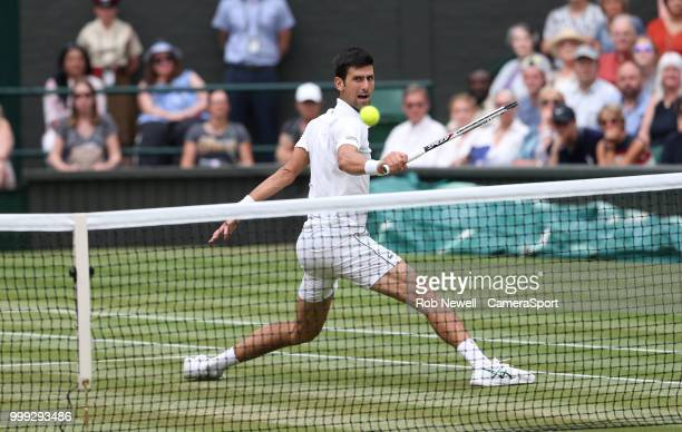 Novak Djokovic during his match against Rafael Nadal in their Men's SemiFinal match at All England Lawn Tennis and Croquet Club on July 14 2018 in...