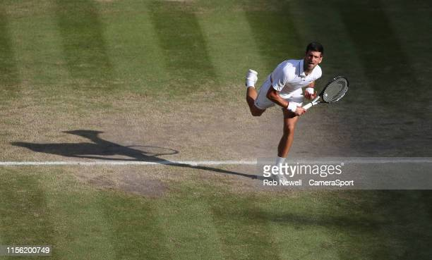 Novak Djokovic during his match against Roger Federer in their Gentleman's Singles Final match during Day 13 of The Championships - Wimbledon 2019 at...