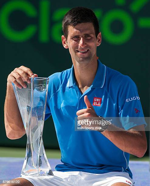 Novak Djokovic during the trophy presentation after defeating Andy Murray 76 46 60 for the Men's Championship at the 2015 Miami Open in Key Biscayne...