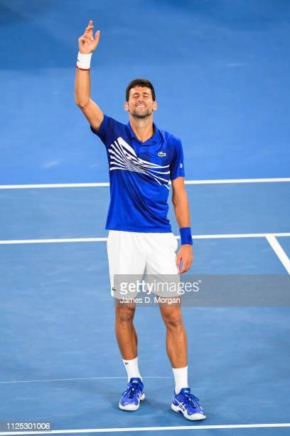 Novak Djokovic enjoying he's victory in the Men's Singles Final match between Novak Djokovic of Serbia and Rafael Nadal of Spain during day 14 of the...