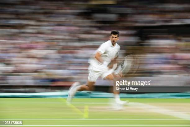 Novak Djokovic from Serbia in action against Rafael Nadal from Spain during The Wimbledon Lawn Tennis Championship at the All England Lawn Tennis and...