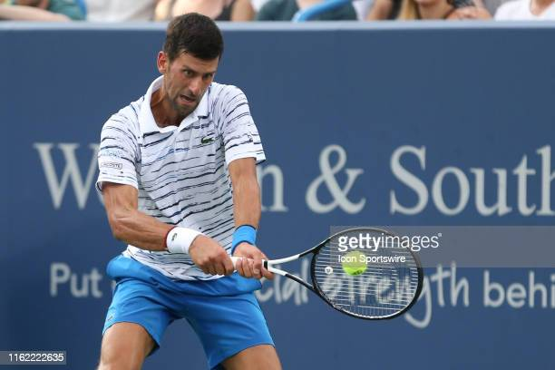 Novak Djokovic hits a backhand during the Western & Southern Open at Lindner Family Tennis Center on August 17th, 2019 in Mason, Ohio.