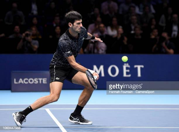 Novak Djokovic in action against Alexander Zverev in their singles Final match during Day Eight of the Nitto ATP Finals at The O2 Arena on November...