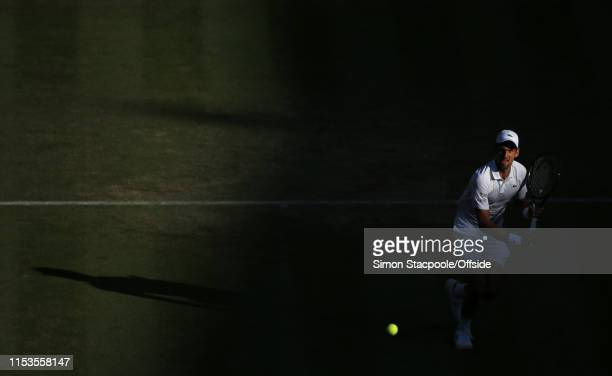 Novak Djokovic in action against Denis Kudla during their Gentlemen's Singles 2nd Round match on Day 3 of The Championships - Wimbledon 2019 at the...