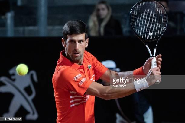 Novak Djokovic in action against Juan Martin Del Potro during Quarter Final Match at Internazionali BNL D'Italia Italian Open at the Foro Italico...