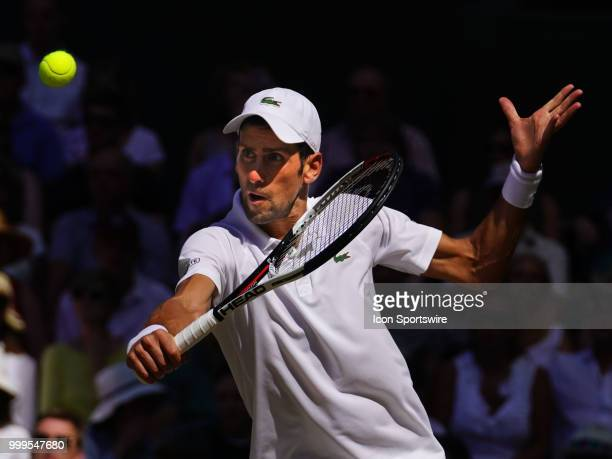 Novak Djokovic in action defeating Kevin Anderson in the men's singles final at the Wimbledon Championships on July 15 2018 at the AELTC in London...