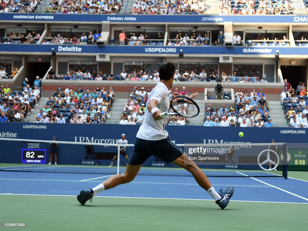 Novak Djokovic (SRB) in action during his 4th round match of the Men's Singles Championships at the US Open on September 03, 2018, played at the Billie Jean King Tennis Center in Flushing Meadow, NY.