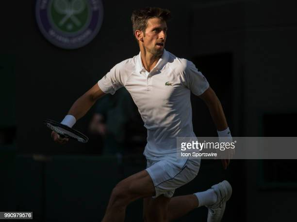 Novak Djokovic in action during his first round match of Wimbledon on July 3 at All England Lawn Tennis and Croquet Club in London England