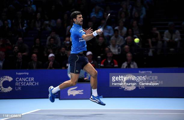 Novak Djokovic in action during his Group Bjorn Borg match against Matteo Berrettini during Day 1 of the Nitto ATP Finals at The O2 Arena on November...