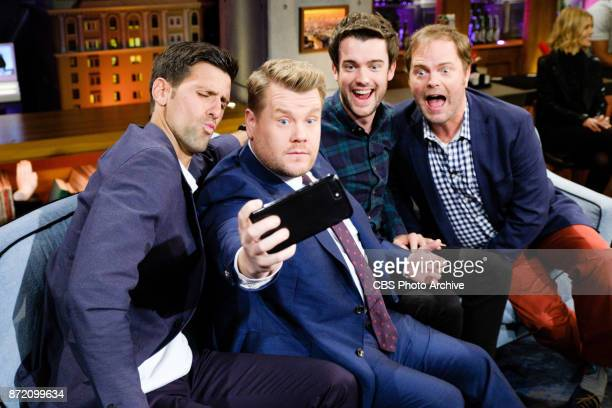 Novak Djokovic Jack Whitehall and Rainn Wilson chat with James Corden during The Late Late Show with James Corden Tuesday November 7 2017 On The CBS...