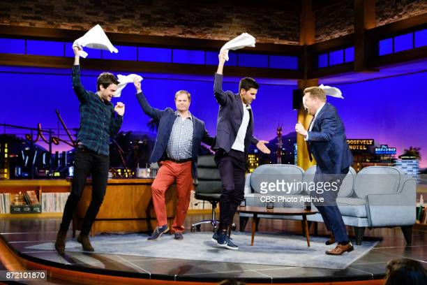 Novak Djokovic Jack Whitehall and Rainn Wilson chat with James Corden during 'The Late Late Show with James Corden' Tuesday November 7 2017 On The...