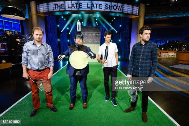Novak Djokovic Jack Whitehall and Rainn Wilson perform in a sketch called Target Practice with James Corden during The Late Late Show with James...