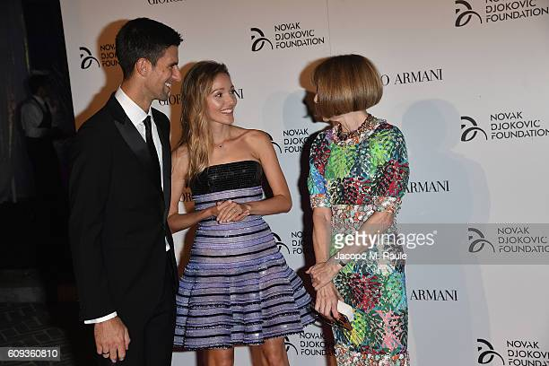 Novak Djokovic, Jelena Djokovic and Anna Wintour attend the Milano Gala Dinner benefitting the Novak Djokovic Foundation presented by Giorgio Armani...