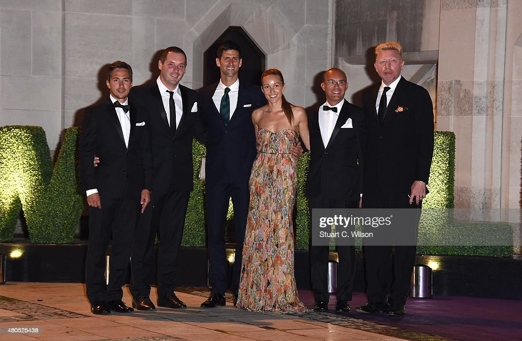 Novak Djokovic (3rd L), Jelena Ristic (4ht L), Boris Becker (R) and guests attend the Wimbledon Champions Dinner at The Guildhall on July 12, 2015 in London, England.