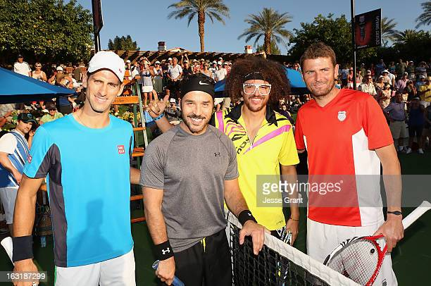 Novak Djokovic Jeremy Piven Redfoo and Mardy Fish attend The 9th Annual KSwiss Desert Smash Charity Tennis Event Benefiting Variety The Children's...