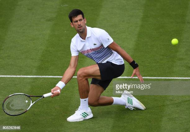 Novak Djokovic of Sebia returns the ball during his mens singles final against Gael Monfils of France on day seven of the Aegon International...
