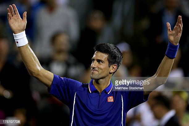 Novak Djokovic of Serbia acknowledges the crowd after defeating Florian Mayer of Germany during the Rogers Cup at Uniprix Stadium on August 6, 2013...