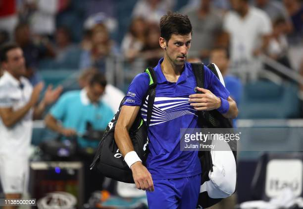 Novak Djokovic of Serbia after his loss against Roberto Bautista Agut of Spain during the Miami Open tennis on March 26 2019 in Miami Gardens Florida