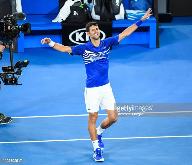 Novak Djokovic of Serbia after winning the Men's Singles Final match between Novak Djokovic of Serbia and Rafael Nadal of Spain during day 14 of the...