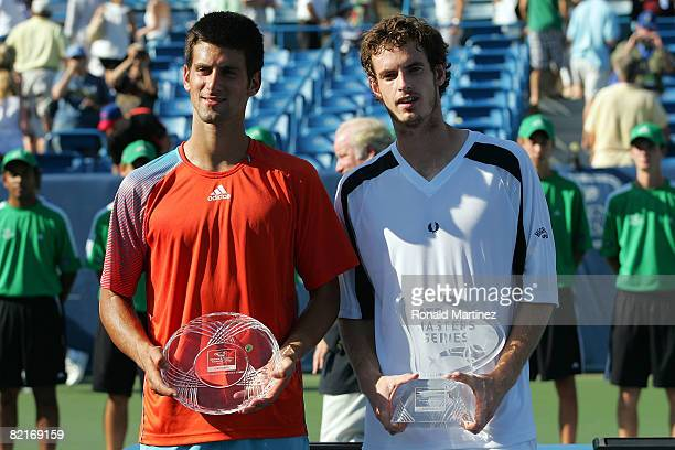 Novak Djokovic of Serbia and Andy Murray of Great Britain during the award ceremoy of the Western Southern Financial Group Masters on August 3 2008...